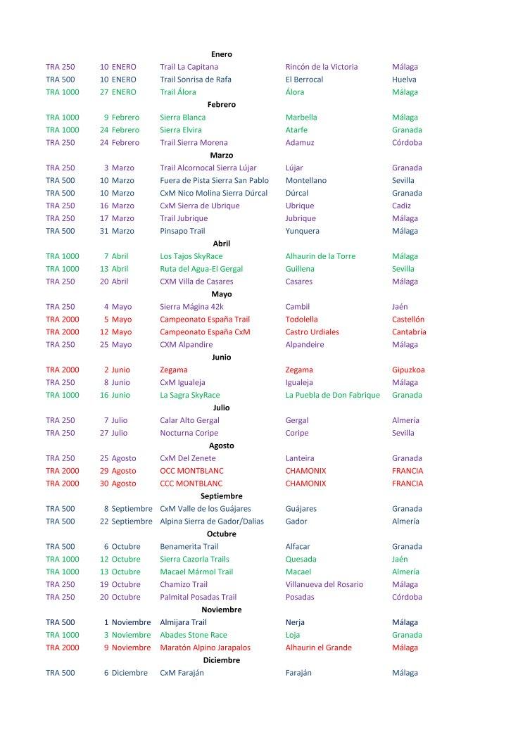 calendario 2019 TRA